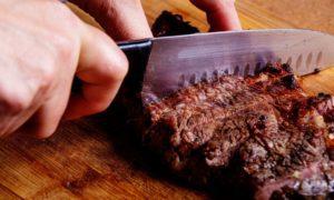 Steak being cut